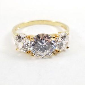 Diamonique 3.80 tw 3 Stone Anniversary Ring 14k